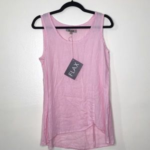 Flax Linen Ruched Tank Pink G464